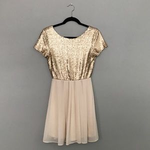 Gold fit and flare party dress!